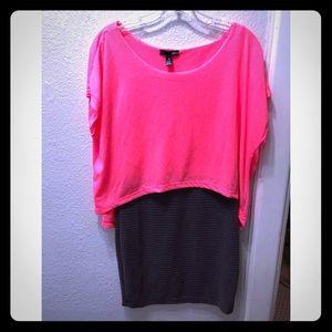 Hot pink and gray mini bodycon Aqua dress